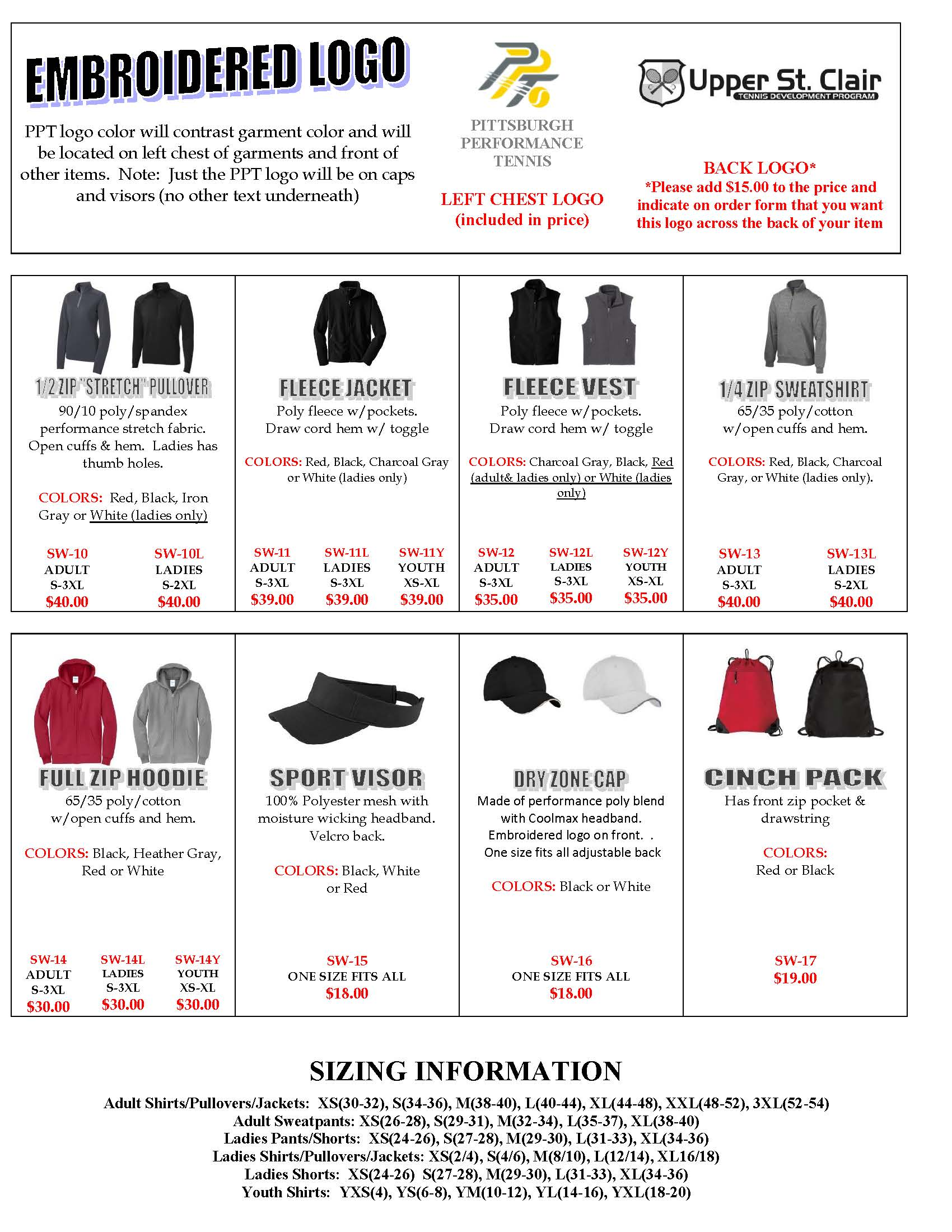 USC TENNIS Order Form 2017 Page 2